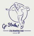 bowling club poster on grey backdrop vector image vector image