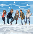 cartoon guys and girls playing snowballs in winter vector image vector image
