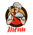 chef holding a tray cloche design menu vector image