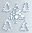 christmas trees paper holiday decorations vector image