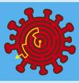 coronavirus symbol labyrinth solution way out vector image vector image