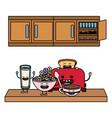 delicious kawaii breakfast cartoon vector image
