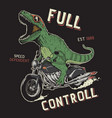 dinosaur on motorcycle vector image vector image