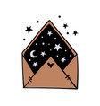 envelope with night sky moon and stars inside vector image