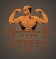 Fitness gym logo mockup bodybuilder showing biceps