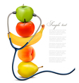 Fruit with a stethoscope Healthy eating concept vector image vector image