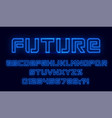 futuristic neon font blue alphabet with numbers vector image vector image