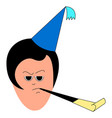 girl with birthday hat on white background vector image vector image