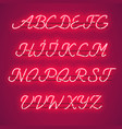 glowing red neon uppercase script font vector image vector image