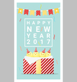 Happy new year 2017 card with chicken 5 vector image