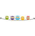 happy owl family sit on wire vector image vector image