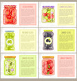 healthy eating organic fruit and veggie preserves vector image
