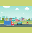 highway with cars on background city vector image