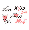hugs and kisses and love signs vector image