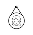 line tag decoration element with girl head inside vector image