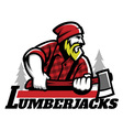 lumberjack mascot holding the axe vector image