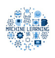 machine learning round flat concept vector image vector image