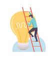 man climbing ladder to big burning light bulb vector image vector image