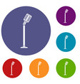 microphone on stand icons set vector image vector image