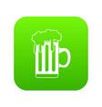 mug with beer icon digital green vector image vector image