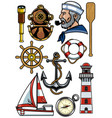 nautical design object set vector image