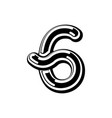number 6 celtic font norse medieval ornament abc vector image