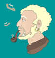 Old sailor smoking pipe vector image