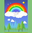 rainbow on sky and forest background vector image