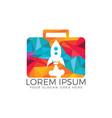 rocket luggage travel logo design vector image