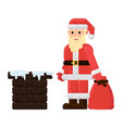 santa claus is on the roof with gifts vector image vector image