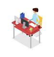 secretary work on computer isometric 3d icon vector image
