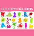 set cartoon style angry germs viruses vector image