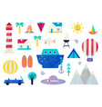 set traveling vacations summer vector image