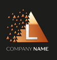 silver letter l logo symbol in the triangle shape vector image vector image