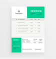 simple green invoice template design vector image vector image