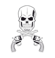 skull gun tattoo face design vector image