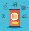 smartphone with app delivery service vector image vector image