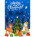 snowman and christmas reindeer with xmas gifts vector image
