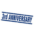 square grunge blue 3rd anniversary stamp vector image vector image