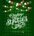 st patricks day greeting card with horseshoe vector image vector image