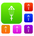 street lamp set collection vector image vector image