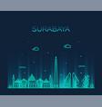 surabaya skyline east java indonesia linear vector image