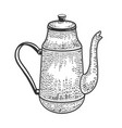 tall antique kettle sketch vector image vector image