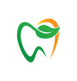 tooth dental eco logo design image vector image