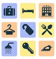 tourism icons set with do not disturb hotel vector image