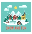 Town in mountains winter time snow and fun vector image