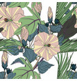 tropical seamless pattern with green leaves vector image vector image