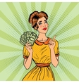 young beautiful woman with money pop art vector image vector image