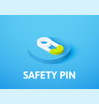 safety pin isometric icon isolated on color vector image