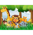A forest with playful animals vector image vector image